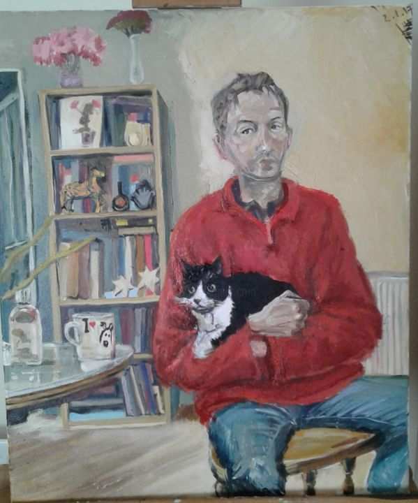 """Painting titled """"self-portrait-cat.j…"""" by Andrew Moore, Original Art, Oil"""