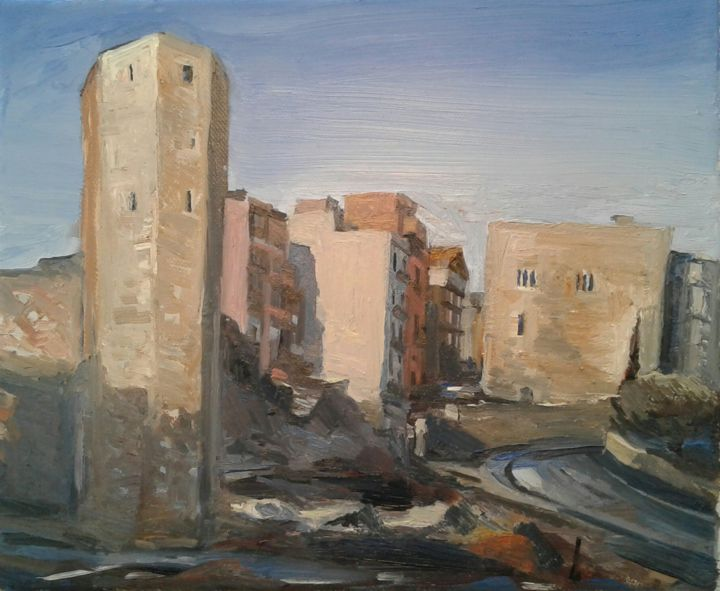 """Painting titled """"Roman tower, Tarrag…"""" by Andrew Moore, Original Art, Oil"""