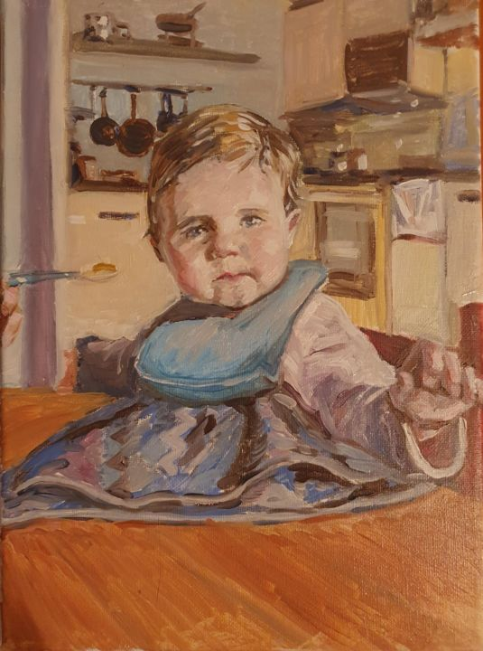 """Painting titled """"Dinner time"""" by Andrew Moore, Original Art, Oil"""