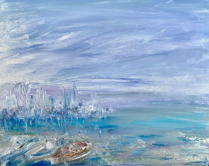 Boats - Painting,  15.8x19.7x0.2 in, ©2019 by Andrey Kryuk -                                                                                                                                                                                                                                                                                                                                                                                                                                                                                                  Abstract, abstract-570, Water, Boat, Seascape, boat, sea, landscape, marina, yachts