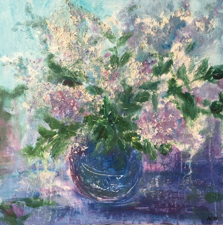 Lilac in blue vase - Painting,  19.7x19.7x0.2 in, ©2019 by Andrey Kryuk -                                                                                                                                                                                                                                                                                                                                                              Expressionism, expressionism-591, Flower, Still life, still life, lilac, bouquet