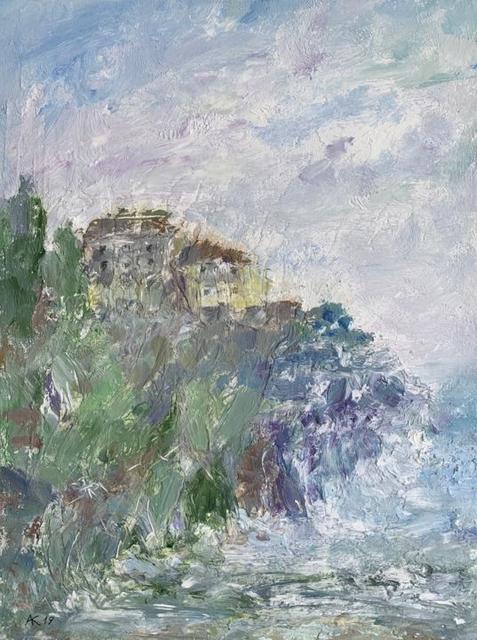 Sea and houses - Painting,  15.8x11.8x0.2 in, ©2019 by Andrey Kryuk -                                                                                                                                                                                                                                                                                                                                                              Expressionism, expressionism-591, Landscape, sea, seascape, houses, water