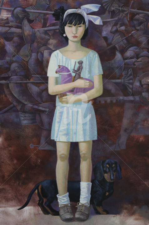 Daughter of Samurai - Painting,  35.4x27.6x0.4 in, ©2015 by Andrey Simakov -                                                                                                                                                                          Figurative, figurative-594, World Culture