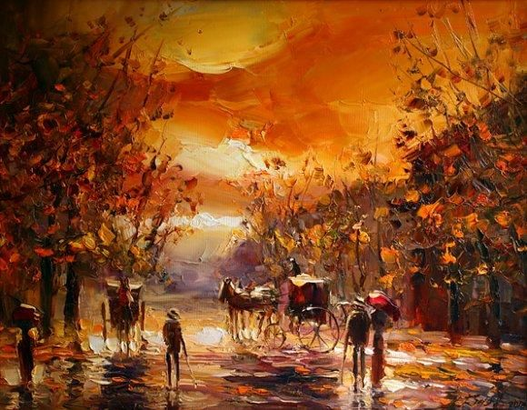 """Painting titled """"IN THE PARK"""" by Andrey Figol, Original Art, Oil"""