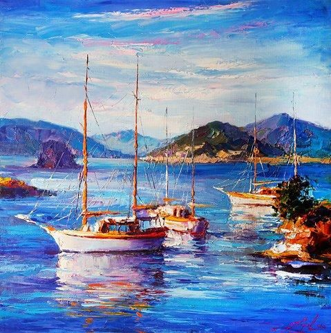 """Painting titled """"WATER FESTIVAL"""" by Andrey Figol, Original Art, Oil"""