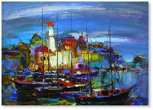 """Painting titled """"BOATS 67"""" by Andrey Figol, Original Art, Oil"""