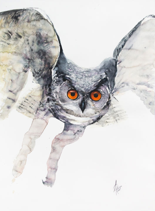 """Painting titled """"Eagle Owl"""" by Andrzej Rabiega, Original Art, Watercolor"""