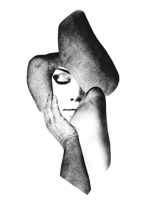 ART0010 - Collages,  20x16x0.2 in, ©2017 by Andy Collage -                                                                                                                                                                                                                                                                  Minimalism, minimalism-606, Black and White, Erotic, Women