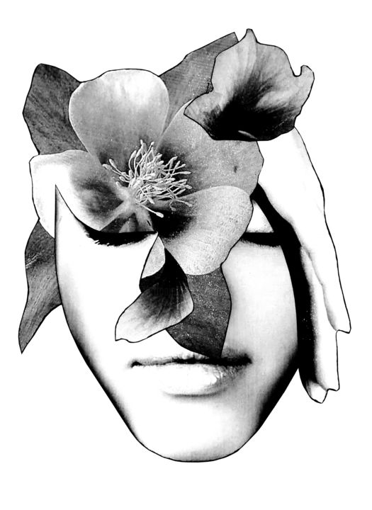 ART0012 - Collages,  29.7x21x0.1 in, ©2018 by Andy Collage -                                                                                                                                                                                                                                                                                                              Minimalism, minimalism-606, Black and White, Erotic, Women, Flower