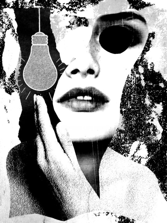 ART0015 - Collages,  10x8x0.2 in, ©2017 by Andy Collage -                                                                                                                                                                                                                                                                  Surrealism, surrealism-627, Black and White, Erotic, Women
