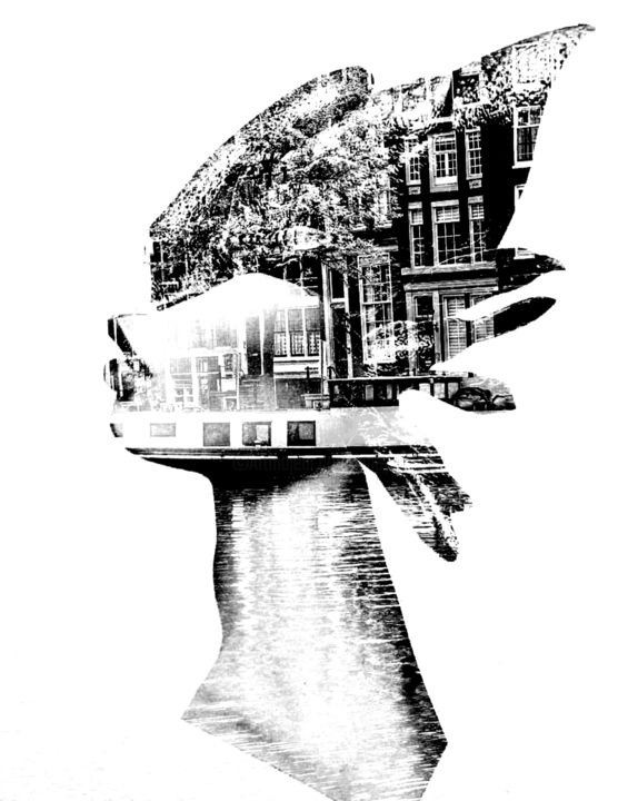 ART0018 - Digital Arts, ©2018 by Andy Collage -                                                                                                                                                                                                                      Surrealism, surrealism-627, Black and White, Women