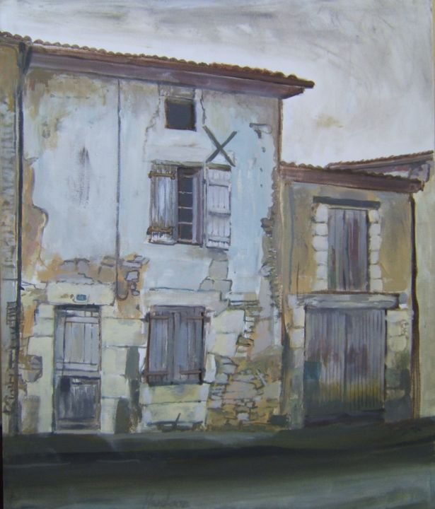Maison à St-Florent - Painting ©2019 by Andy Hudson -                                                            Figurative Art, Canvas, Architecture, dereliction