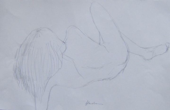 Reclining nude - Drawing, ©2019 by Andy Hudson -                                                                                                                                                                                                                          Figurative, figurative-594, Nude, Aïssa