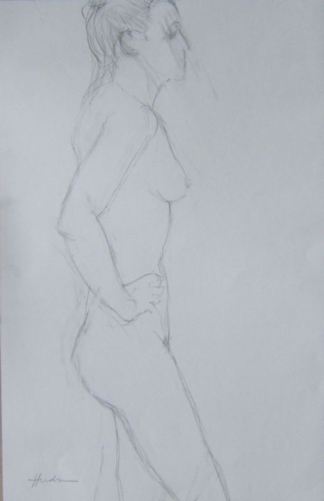 Standing pose - Drawing, ©2019 by Andy Hudson -                                                                                                                                                                                                                          Figurative, figurative-594, Nude, Aïssa