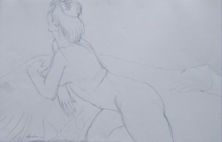 Reclining pose - Drawing, ©2019 by Andy Hudson -                                                                                                                                                                                                                          Figurative, figurative-594, Nude, Aïssa