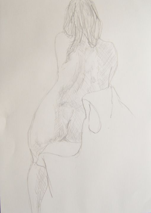 Aïssa assise - Drawing ©2014 by Andy Hudson -                                            Figurative Art, Nude, Aïssa
