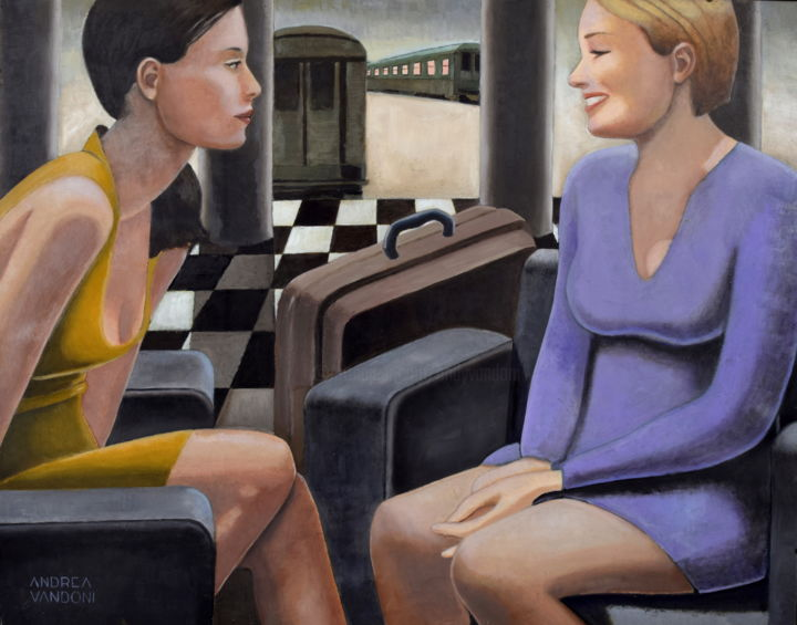 AT THE STATION - Painting,  27.6x35.4 in, ©2010 by Andrea Vandoni -                                                                                                                                                                                                                                                                                                                                                                                                                                                                                                                                                                                                                                                                                                                                                                                                                                                                  Figurative, figurative-594, Women, Interiors, women, smile, conversation, station, trains, friends, travel, beauty, blonde, brunette, violet, yellow, talk, italian art