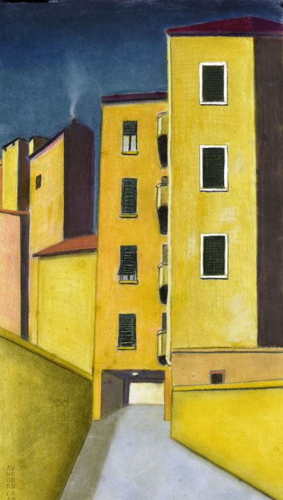 DAY AND NIGHT - © 2010 night, day, light, darkness, yellow, blue, italian art, andrea vandoni, pastel on paper Opere d'arte online
