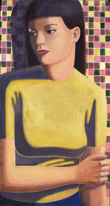 GIRL - © 2009 woman, girl, beauty, classic, classicism, yellow, brunette, tempera on paper, italian art, andrea vandoni Opere d'arte online