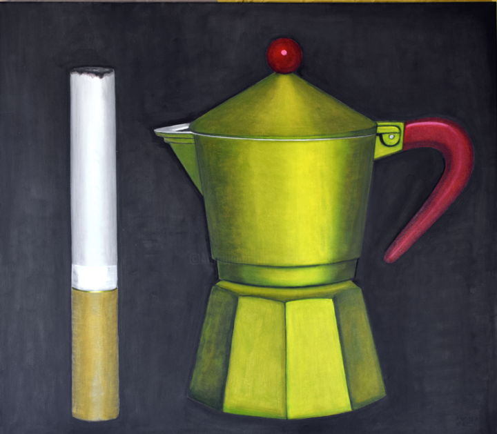 COFFEE AND CIGARETTE, large special price - Painting,  31.5x35.4x0.8 in, ©2018 by Andrea Vandoni -                                                                                                                                                                                                                                                                                                                                                                                                                                                                                                                                                                                                                                      Figurative, figurative-594, Still life, italian art, italian artist, italian painting, andrea vandoni art, andrea vandoni painting, still life, coffee pot, cigarette, coffee and cigarette, smokers