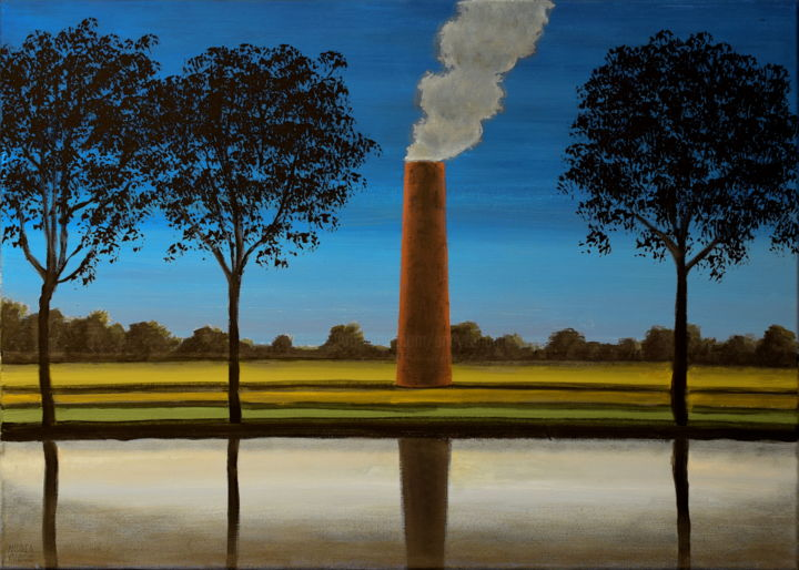 PAESAGGI IMPROBABILI 4 - Painting,  19.7x27.6x0.8 in, ©2019 by Andrea Vandoni -                                                                                                                                                                                                                                                                                                                                                                                                                                                                                                                                                                                                                                                                                                                                                                                                                                              Water, Tree, Nature, Landscape, Agriculture, italian art, italian painter, italian painting, andrea vandoni art, andrea vandoni painting, chimneys, environmental art, anvironmentalism, water, reflections, trees, fields, piedmont