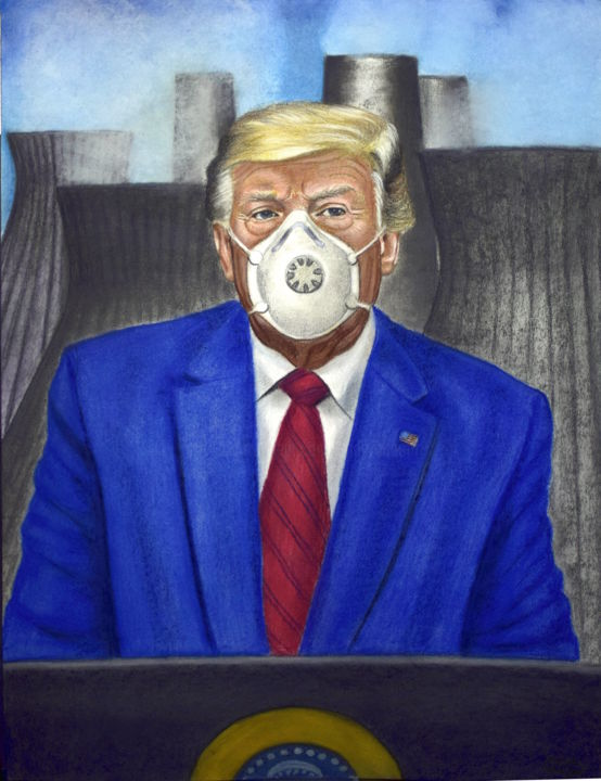 THERE IS NO CLIMATE CRISIS, CORONAVIRUS IS LESS THAN FLU AND - Drawing,  25.6x19.7 in, ©2020 by Andrea Vandoni -                                                                                                                                                                                                                                                                                                                                                                                                                                                                                                                                                                                                                                                                                                                                                                                                                      Pop Art, pop-art-615, Political figures, Politics, Men, Trump, donald trump, scientific denial, pollution, coronavirus, covid19, environmental art, climate crisis, climate changes, chimneys, nuclear energy, andrea vandoni art