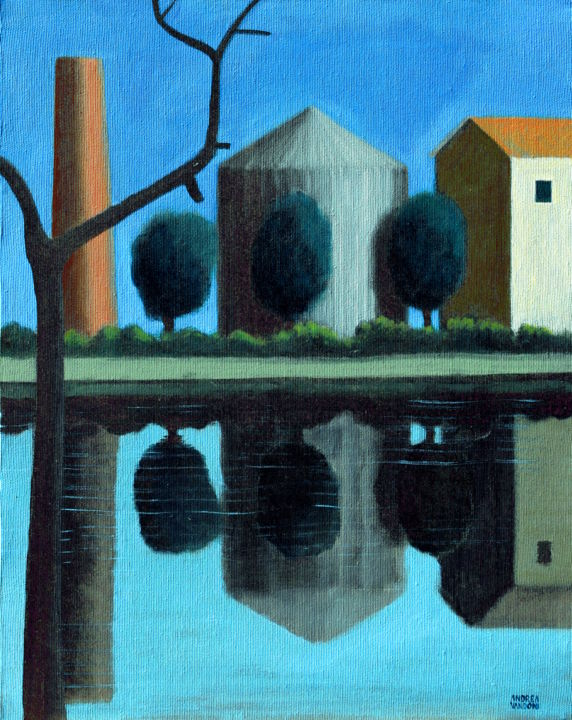 Italic Landscape - Painting,  19.7x15.8x0.8 in, ©2020 by Andrea Vandoni -                                                                                                                                                                                                                                              Water, Tree, Landscape, Rural life, Agriculture