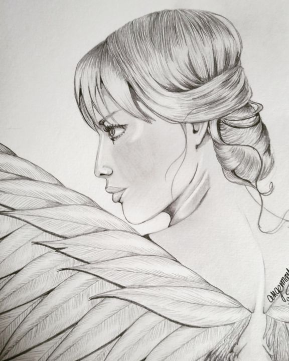 Dos d'ange - Drawing,  13.4x9.5 in ©2019 by Angamaya -            ange, Femme, Dessin, Graphite, Dos