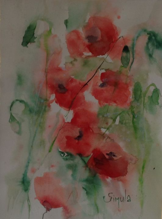 poppies - Painting,  30x40 cm ©2014 by Angela -                                                            Contemporary painting, Paper, Flower, red, rosso, fiori, Flower, Acquerello, watercolor, painting