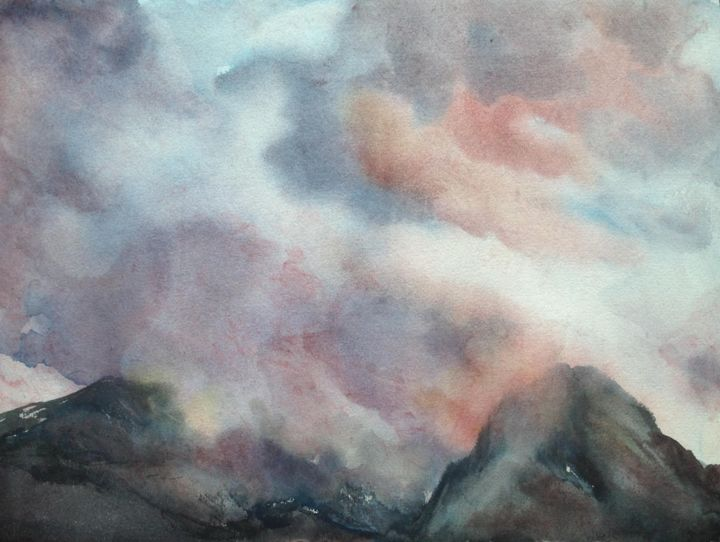 """Painting titled """"Alps"""" by Angela, Original Art, Watercolor"""