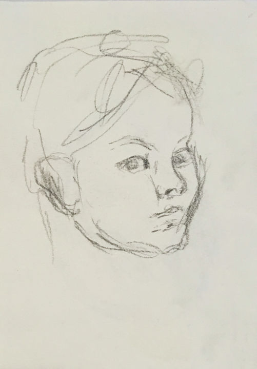 """Drawing titled """"Child 2"""" by Angela, Original Art, Charcoal"""