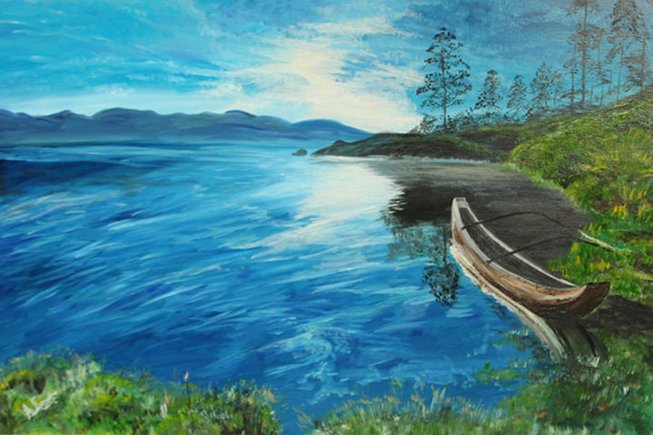"""Painting titled """"Sky Meets River"""" by Angeli, Original Art, Oil"""