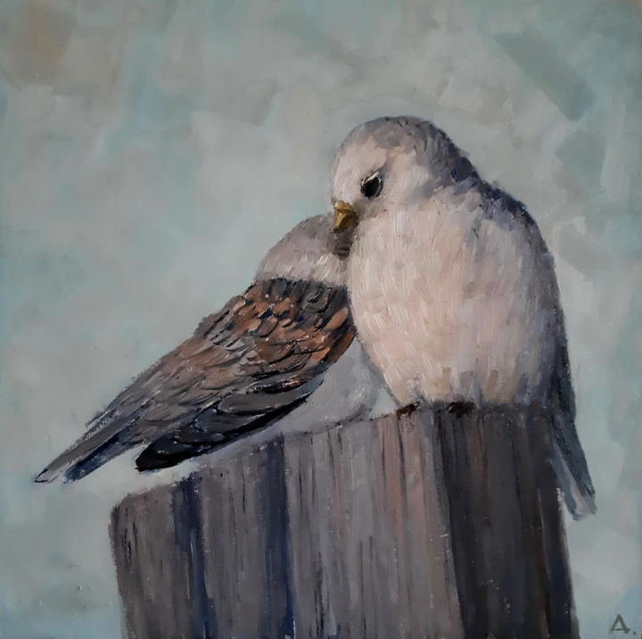 """Painting titled """"Love birds"""" by Angelia Lasnaia, Original Art, Oil"""