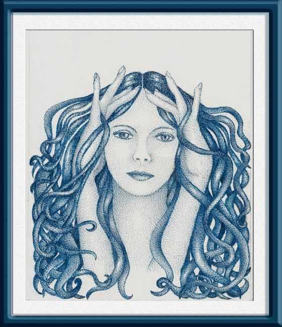 medusa - Design,  22x26 cm ©2009 by Angelica Trompieri -            drawing in ink on paper