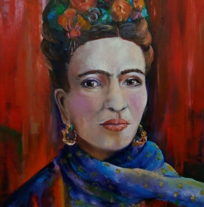 Frida Kahlo - Painting,  100x80 cm ©2018 by Angelika Taubenheim -                                                                                Impressionism, Canvas, Celebrity, Women, People