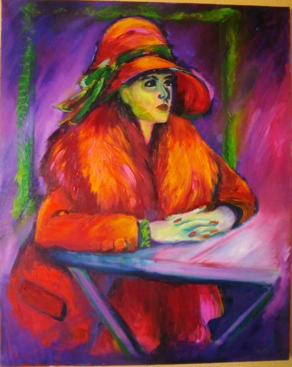... Où est mon café? - Painting,  100x80 cm ©2015 by Angelika Taubenheim -                                                                                                            Expressionism, Fauvism, Folk, Portraiture, Canvas, Women, People, Ölmalerei, rot