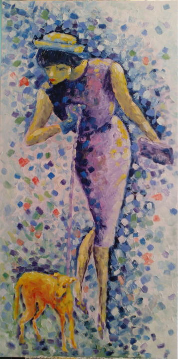 Dame mit Hund - Painting,  50x100 cm ©2015 by Angelika Taubenheim -                                                                                            Fauvism, Impressionism, Canvas, Women, Dogs, People