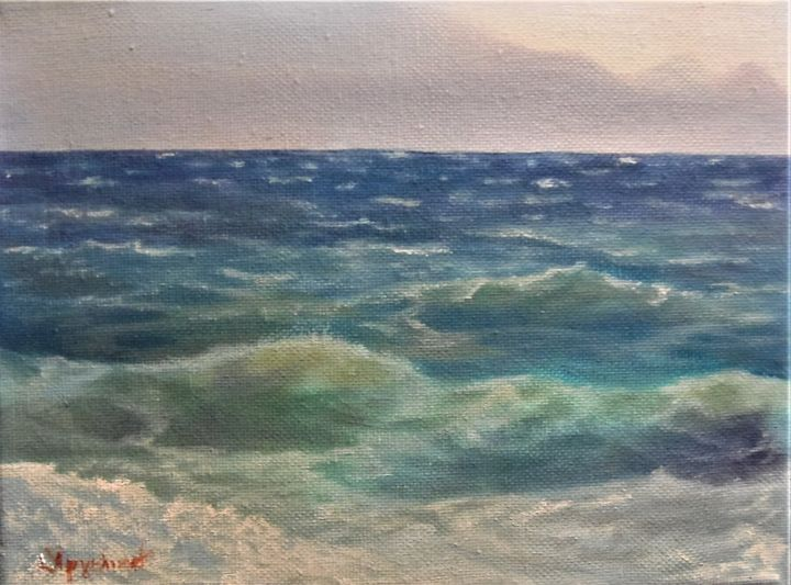 """Painting titled """"A drop of summer"""" by Ageliki [Αγγελικη], Original Art, Oil"""