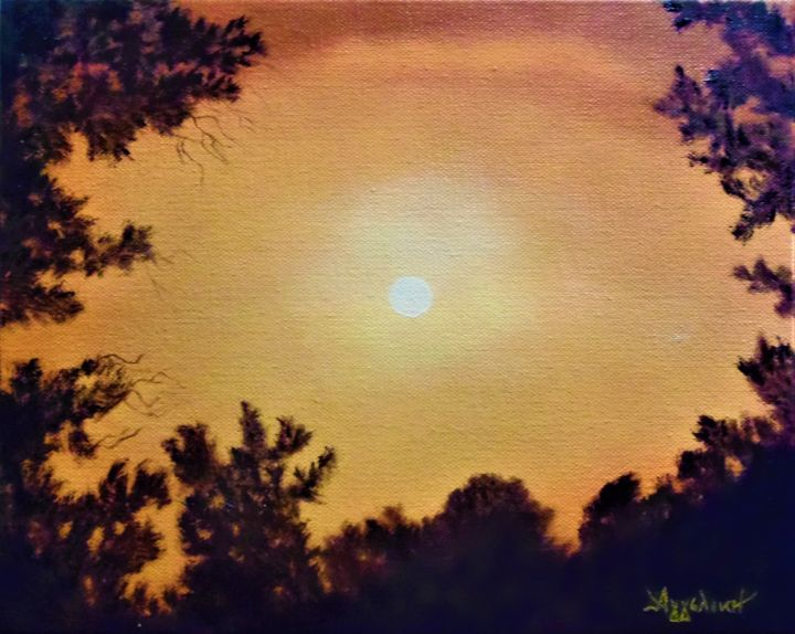 """Painting titled """"Golden sky by Ageli…"""" by Ageliki [Αγγελικη], Original Art, Oil"""