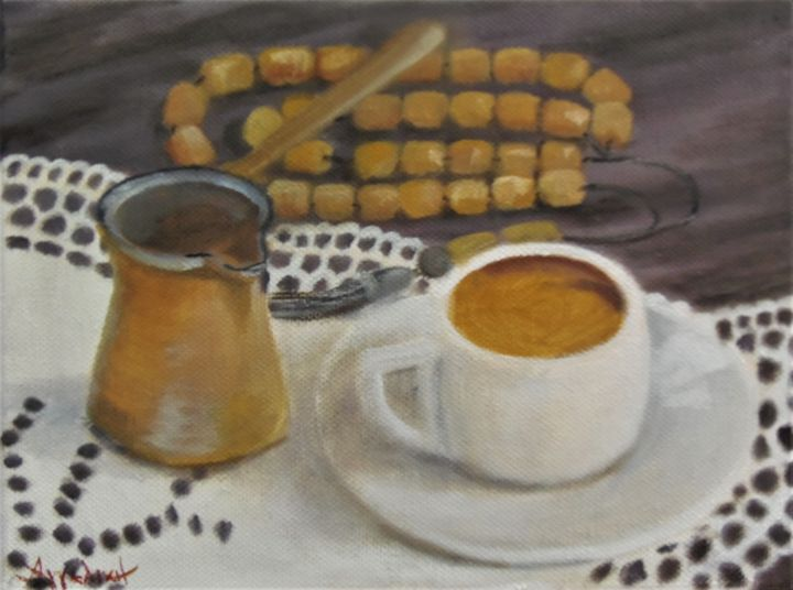 Greek flavor by Ageliki, 18X24cm, oil on canvas - Painting,  18x24x1.5 cm ©2018 by Ageliki [ΑγγελικΗ] -                                                                                                                                                Figurative Art, Folk, Realism, Canvas, Cuisine, Culture, Kitchen, Still life, Travel, World Culture, worry beads, coffee, cup of coffee, Greek coffee, doily, tradition, greek culture, relax, small painting, original artwork, affortable original artwork