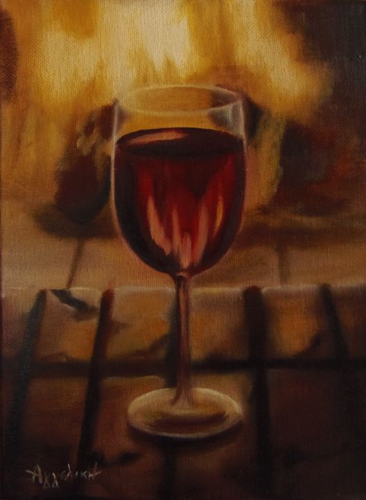"""A glass of wine"" - Painting,  9.5x0.6x7.1 in, ©2014 by Ageliki [Αγγελικη] -                                                                                                                                                                                                                                                                                                                                                                                                                                                                                                                                                                                                                                                                                  Figurative, figurative-594, Food & Drink, Interiors, Still life, wine, food, drink, glass, fire, still life, fireplace, red, yellow"