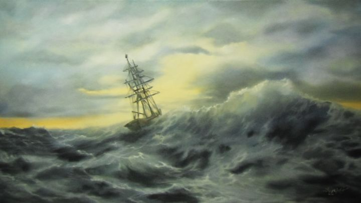 """Painting titled """"Against all odds"""" by Ageliki [Αγγελικη], Original Art, Oil"""