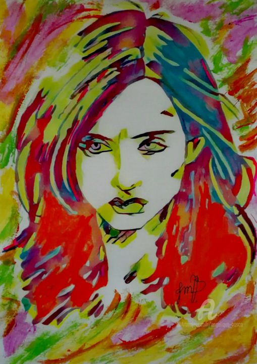 Jessica pop jones - Painting ©2018 by Jean Marie vandaele -                                                                                            Pop Art, Comics, Cinema, Cartoon, Kids, Heroic-Fantasy, comics, Jessica jones, marvel, heroïne, defenders, serie, bd, bd comics, luke cage, popart, pop art, portrait, visage, girl, bad girl, beauté, beauty, femme