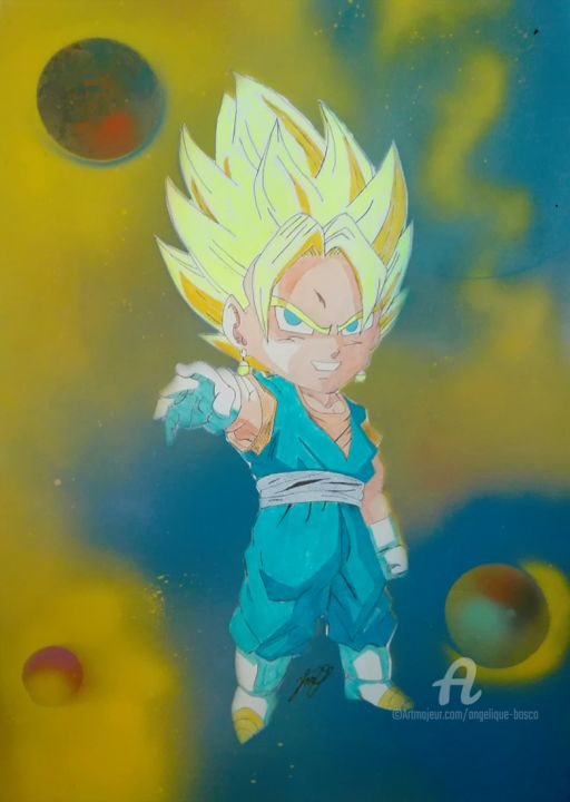 Fusion saiyan dbz - Painting,  70x50 cm ©2016 by Jean Marie vandaele -                                                                                                    Comics, Cinema, Outer Space, Colors, Cartoon, Kids, Heroic-Fantasy, dbz, dragonball, dragonballz, sangoku, sayen, manga, draw, drawing, art, dessin, dopeart, peinture, bombe à peinture