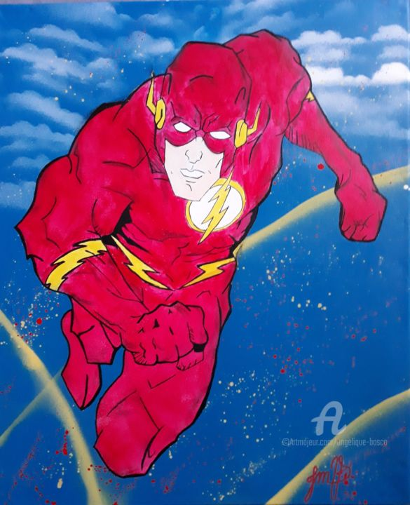 Flash - Painting,  61x50 cm ©2019 by Jean Marie vandaele -                                                                                                                    Folk, Portraiture, Comics, Cinema, Colors, Cartoon, Kids, Heroic-Fantasy, flash gordon, flash, hero, super heros, dc, comics, dc comics, ligue des justiciers, bd, jmv, vandaele jean Marie