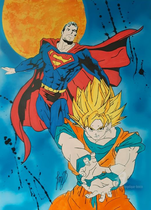 Superman Vs Goku Painting By Jean Marie Vandaele Artmajeur