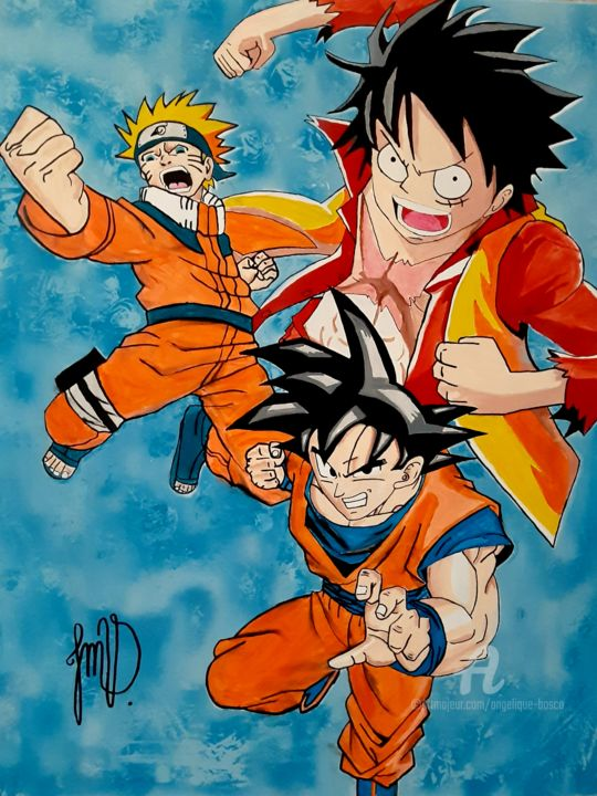 L'alliance de Naruto, Luffy et Goku. - © 2019 manga, draw, drawing, dessin, peinture acrylique, jmv, dragonball, Naruto, luffy, one peace, dessin animé, tableau, fan'art, pop'art, dope'art, illustration, super héros, manga paint Œuvres-d'art en ligne