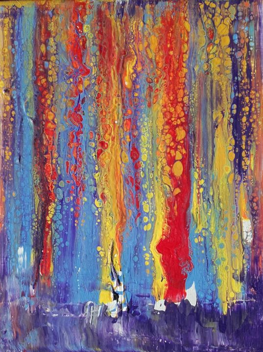 Colour Falls - Painting,  13.8x10.6x0.7 in, ©2019 by Angelo Rizzi -