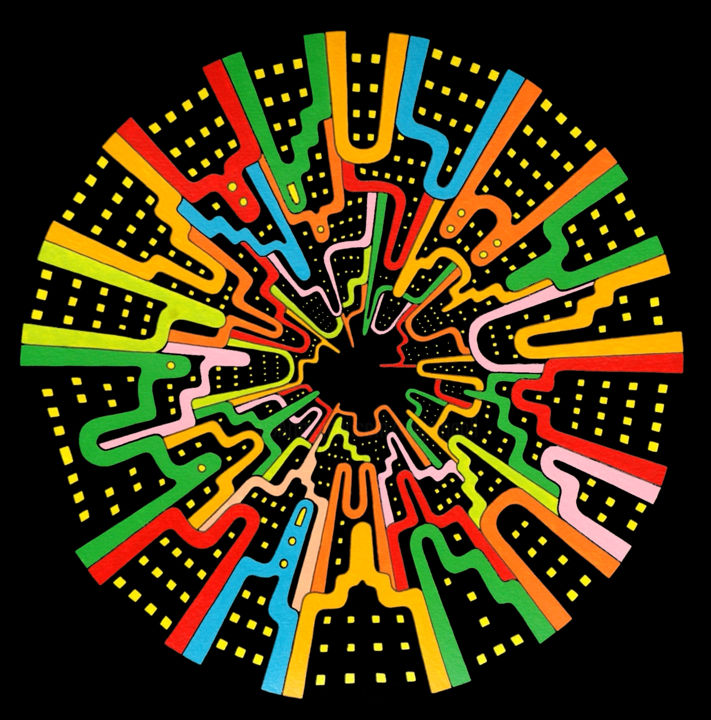 Ciudad Circular 1 - Pintura,  13,4x13,4 in, ©2007 por Angel Ripoll -                                                                                                                                                                                                                                                                                                                                                                                                                                                                                                                                                                                                                                      Pop Art, pop-art-615, artwork_cat.Cities, artwork_cat.Cityscape, negro, círculo, ciudad, pop, perspectiva, pintura, cielo, city, black