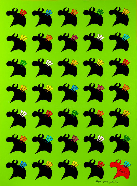 Negros zaínos puteados - Painting,  88x67 cm ©2009 by Angel Ripoll -                                                                        Pop Art, Naive Art, Paper, Animals, bulls, animales, toros, verde, spain, pop, pintura